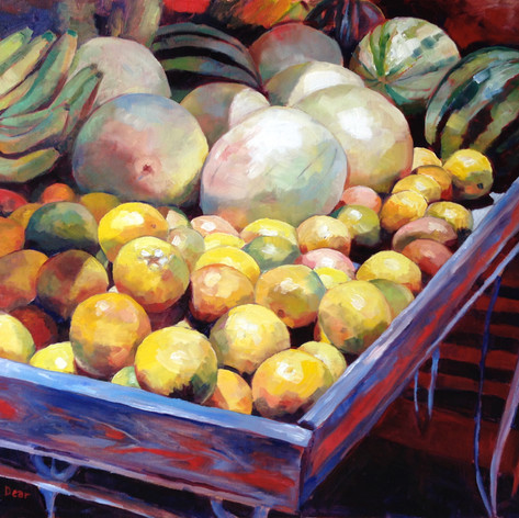 "Oistins Fruitstall, Oil on Canvas, 20"" x 24"""