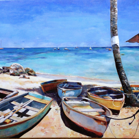 "Dinghies IX,  Oil on Canvas.  48"" x 60"""