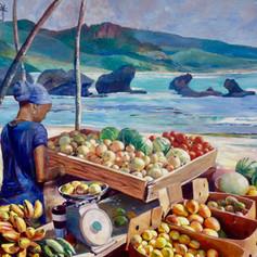 """Fruit Vendor Bathsheba, Barbados, Oil on Canvas, 48"""" x 60"""""""