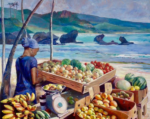 """Fruit Vendor Bathsheba Barbados, Oil on Canvas 48""""x60"""""""