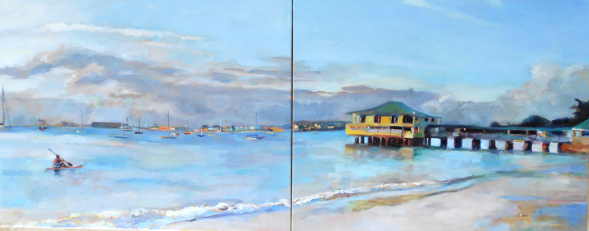 "Pebble Beach Evening Diptych.  Oil on Canvas 24"" x 60"""