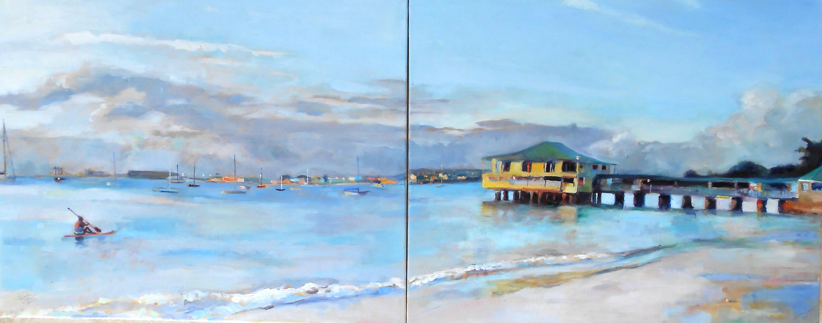 "Pebble Beach Evening Diptych.  Oil on Canvas 24"" x 60"""