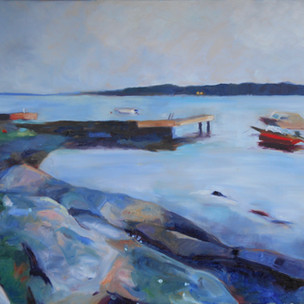 3 a.m.  Oil on Canvas 50cm x 60cm.  Part of a series of the same pier at different times of day during the amazing Norwegian summer