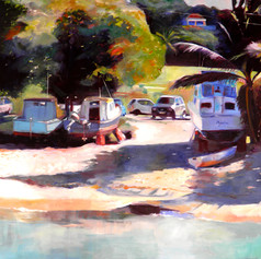 "Boats at Port Ferdinand, Oil on Canvas.  48"" x 36"""