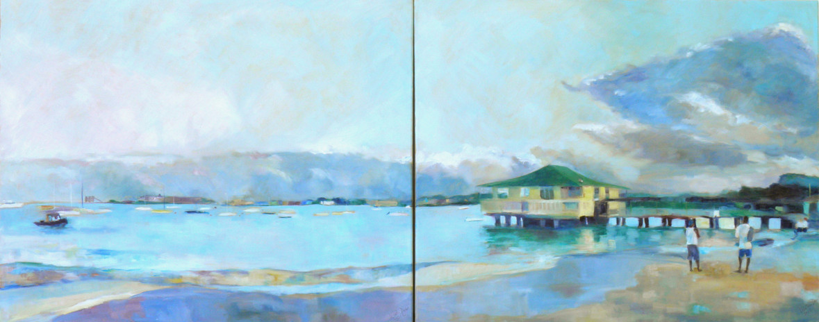 "Pebble Beach Diptych.  Oil on Canvas 24"" x 60"""
