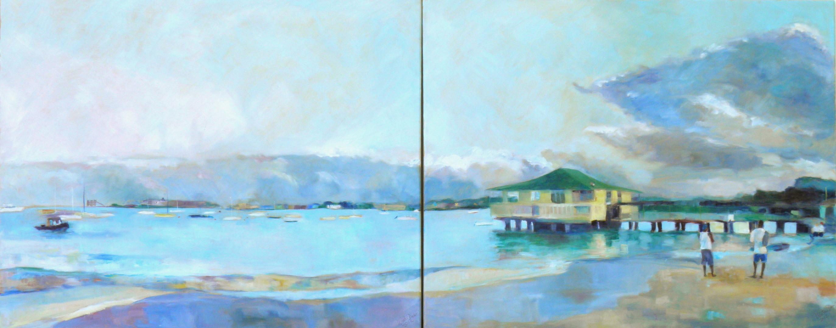 """Pebble Beach Diptych.  Oil on Canvas 24"""" x 60"""""""