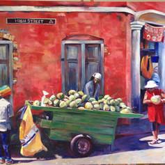 """Coconut Vendor, High Street. Oil on Canvas.  60"""" x 36""""."""