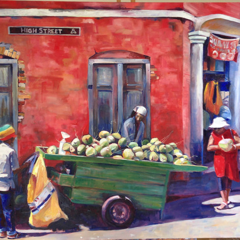 "Coconut Vendor, High Street. Oil on Canvas.  60"" x 36""."