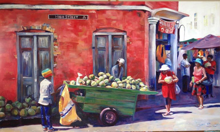 """Coconut Vendor, Oil on Canvas 36"""" x 60"""""""