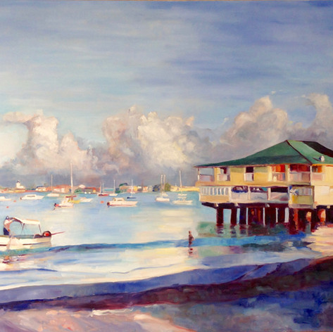"Morning Light Carlisle Bay Oil on Canvas 30"" x 48"""