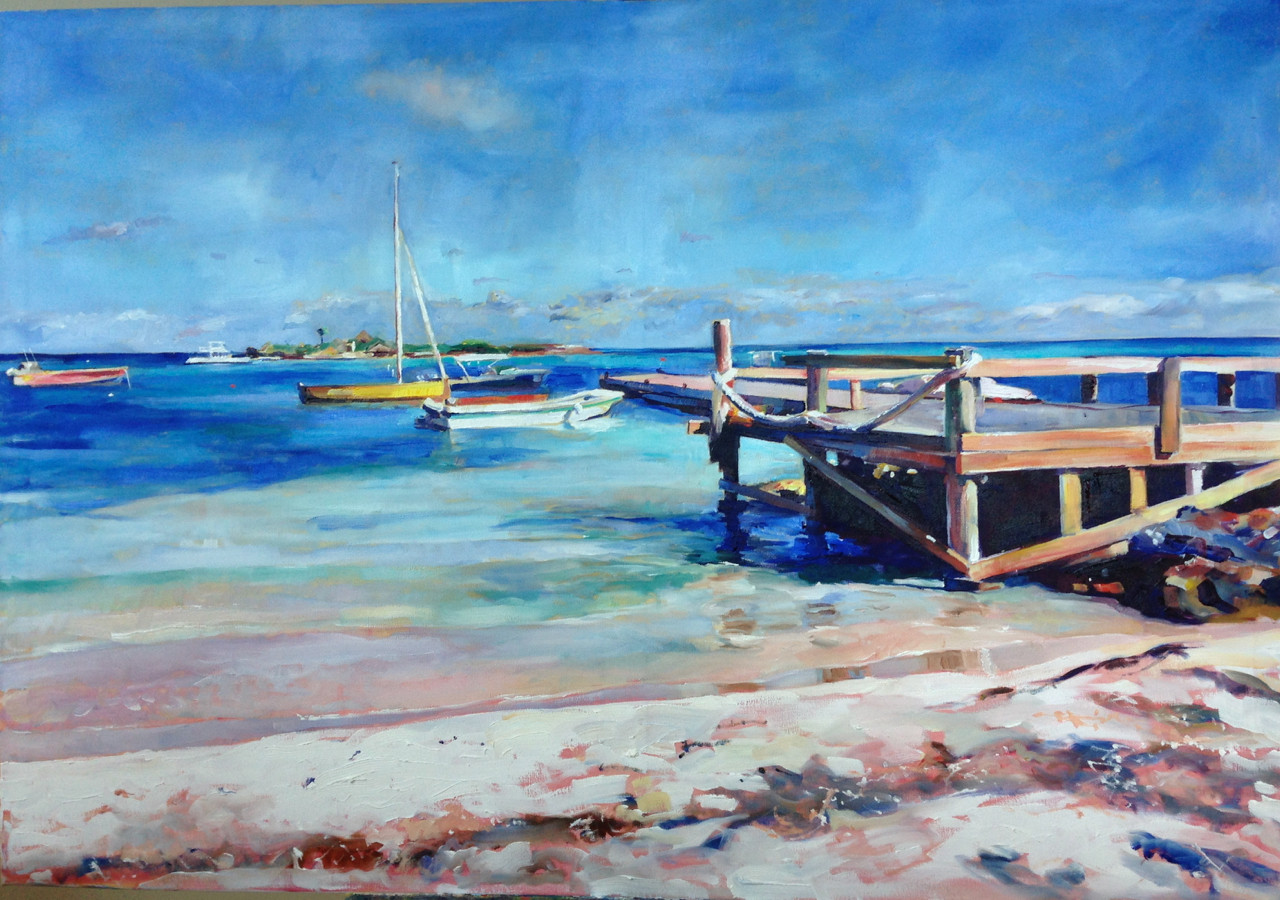 The Pier at Island Harbour, Oil on Canvas 100cm x 70cm