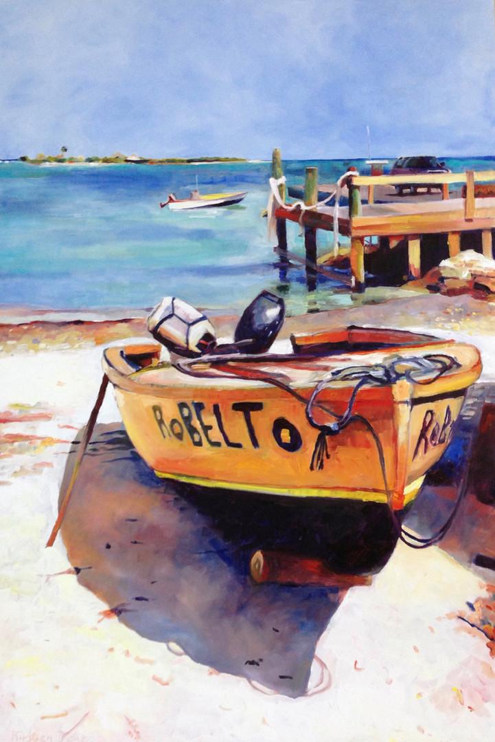 "Robelto, Island Harbour.  Oil on Canvas 36""x24"""