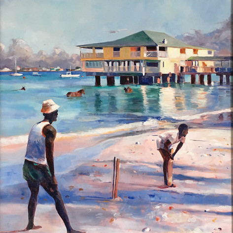 "Beach Cricket, Oil on Canvas 30"" x 24"""