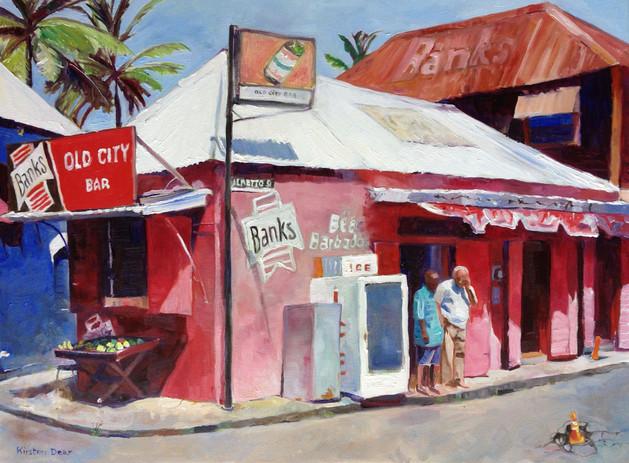 "Old City Bar Palmetto Square Bridgetown. Oil on Canvas 18"" x 24"""