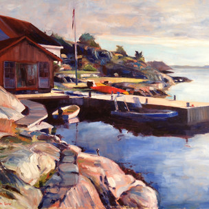 Bryggen om Morgenen. Oil on Canvas 81cm x 65cm