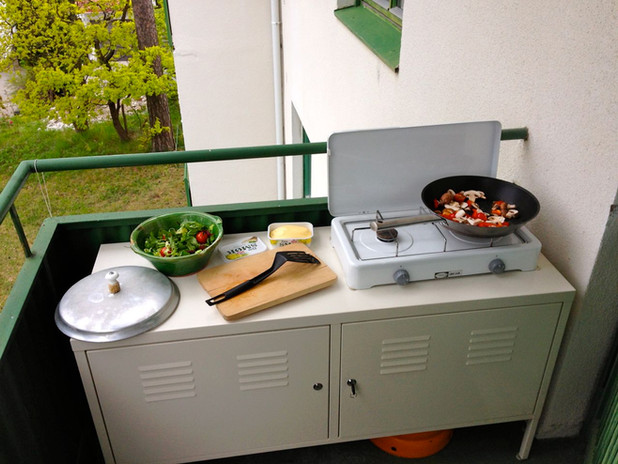 Outdoor cooking on Balcony