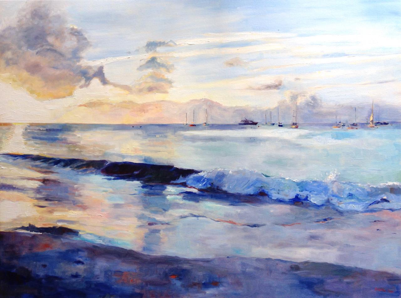 "Sundown, Carlisle Bay.  Oil on Canvas 36"" x 48"""