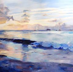 "Sundown Carlisle Bay, Oil on Canvas 36""x48"""