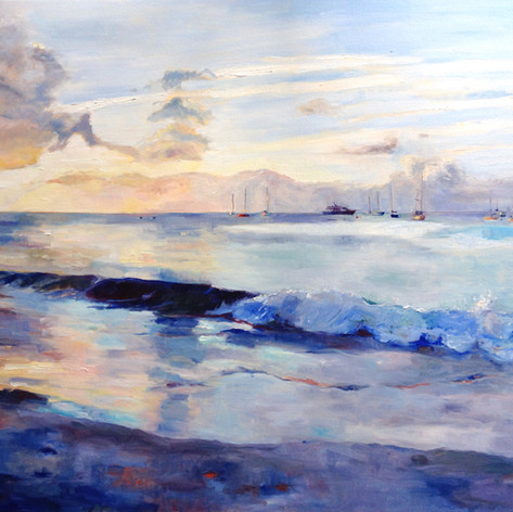 "Sundown Carlisle Bay, Oil on Canvas 36""x48"""