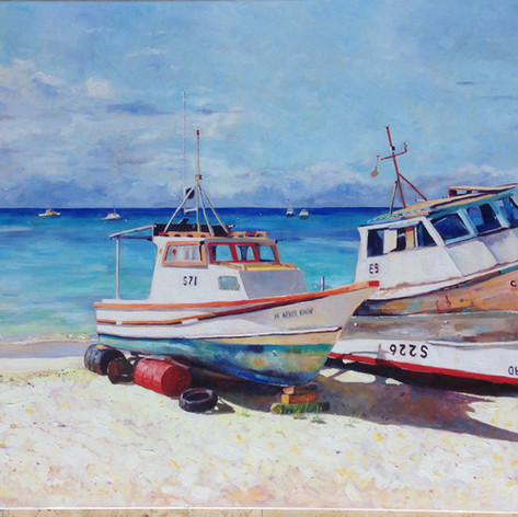 "Boatyard Near Mary Ifill Fish Market, Oil on Canvas, 36"" x 48"""