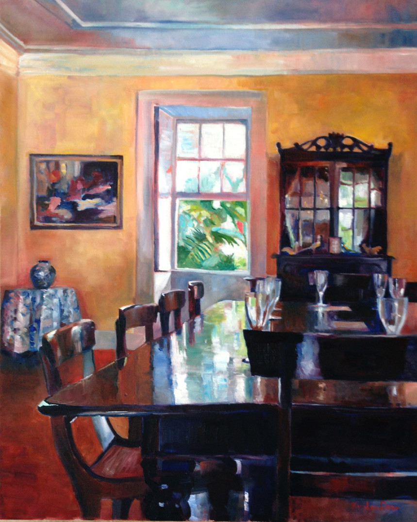 "Dining Table, Lancaster Great House.  Oil on Canvas 24"" x 30"""