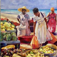 """Beach Market, Oil on Canvas 60"""" x 48"""""""