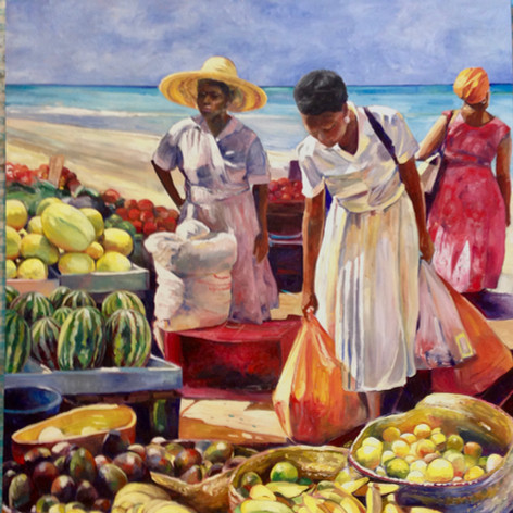 "Beach Market, Oil on Canvas 60"" x 48"""
