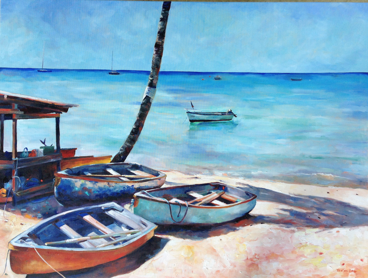 "Back from Fishing, Barbados.   Oil on Canvas 36"" x 48"""