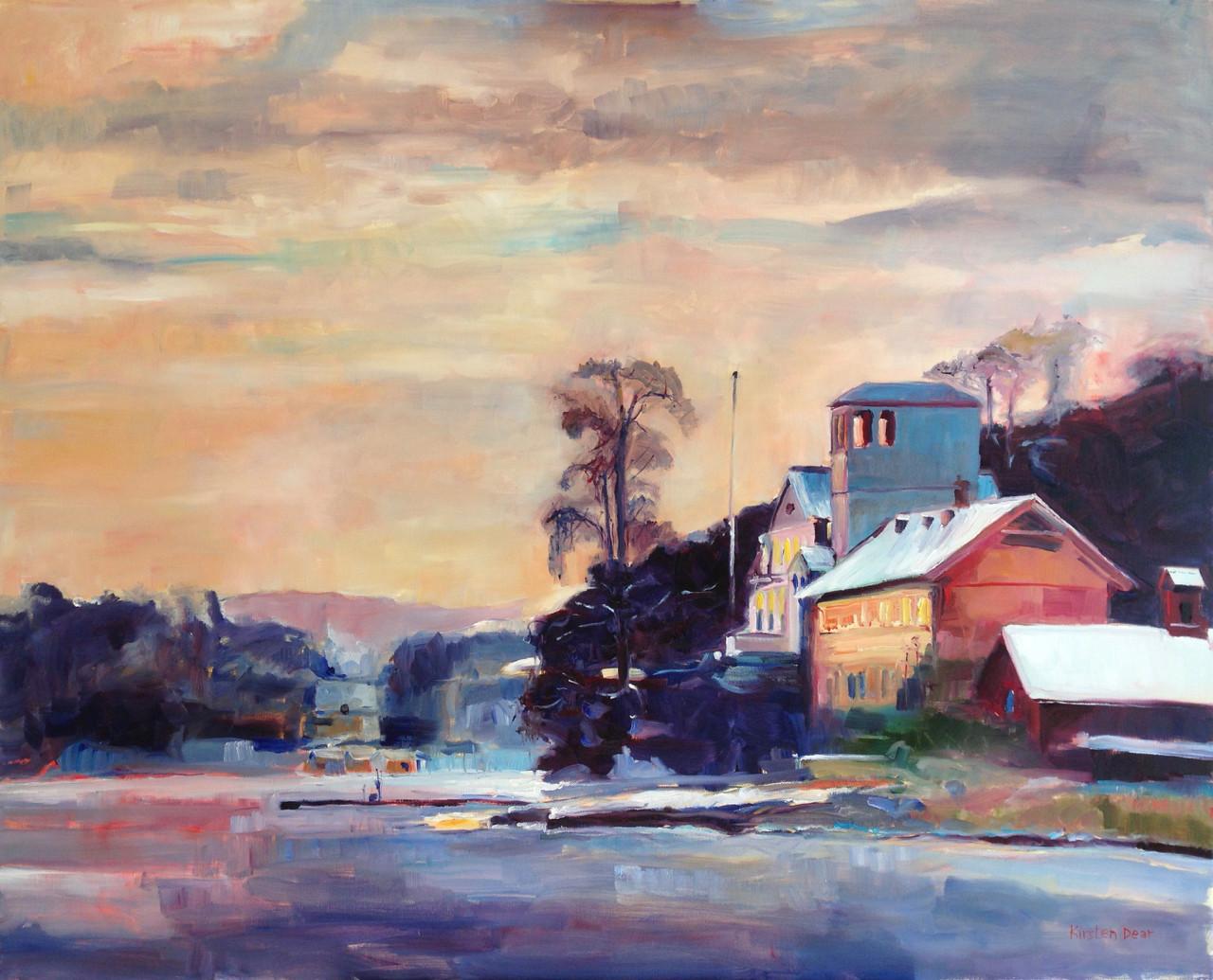 Vinter Lys Kjørbo Gård.  Oil on Canvas 82cm x 100cm