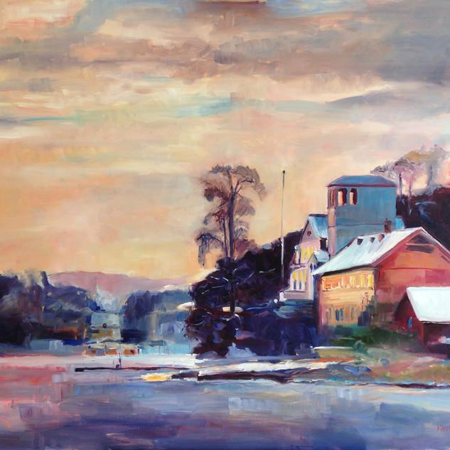 Vinterlys Kjørbo Gård'.  Oil on Canvas 82cm x 100cm. Based on a photograph by the very talented photographer Jan-Erik Kjøland.