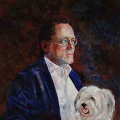 "Portrait of Larry Warren and Eli.  Oil on Linen. 36"" x 30"""