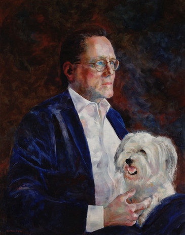 "Portrait of Larry Warren and Eli. Oil on Linen  36"" x 30"""