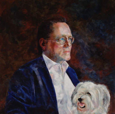 "Portrait of Larry Warren and Eli.  Oil on Linen. 36"" x 30"""