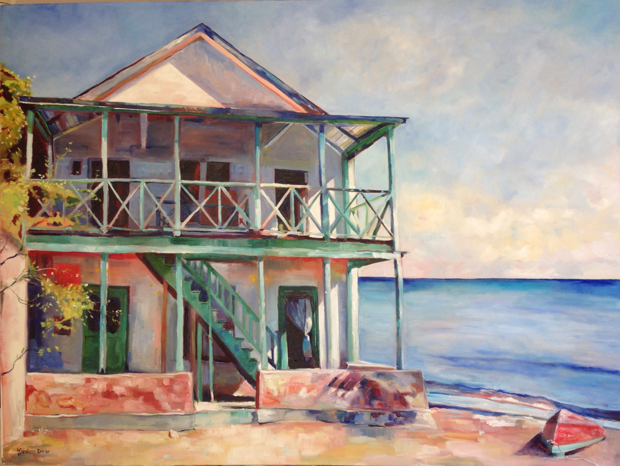 """House by the Sea.  Oil on Canvas 36"""" x 48"""""""