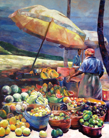 "East Coast Market, OIl on Canvas 60"" x 48"""