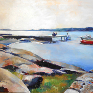 4-30pm.  Oil on Canvas 50cm x 60cm.  Part of a series of the same pier at different times of day during the amazing Norwegian summer