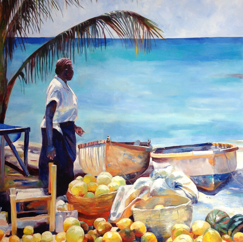 "Seaside Market. Oil on Canvas 48"" x 36"""