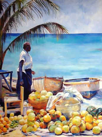 "Seaside Market, Oil on Canvas 48"" x 36"""