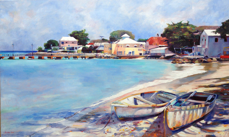 """Boats on the Beach in Speighstown.   Oil on Canvas 36"""" x 60"""""""