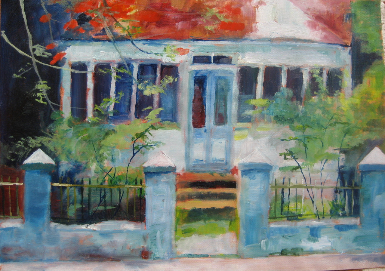 """Red House. Oil on Paper, 10""""x12"""""""