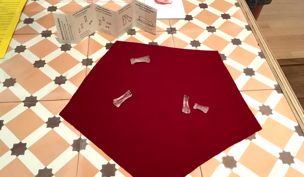 knucklebones (game pieces for divination) - installation view