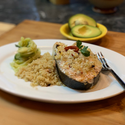 Spicy Fresh Norwegian Salmon with Olive Lemon Quinoa & Vegetable Noodles