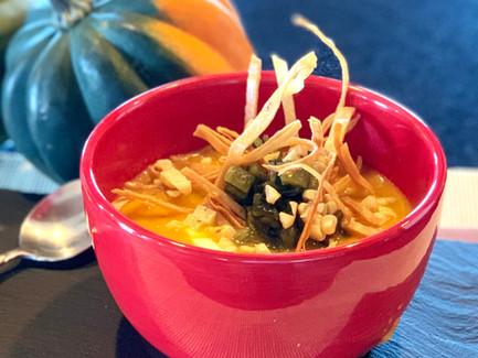 Roasted Acorn Squash, Poblano & Corn Soup