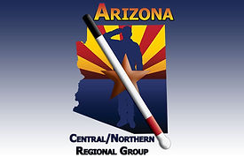 Image displaying the Arizona Central/Northern Regional Group Flag. The Arizona state flag inside an outline of the state of Arizona. A soldier stands soluting in front of the star in the flag,and in front of the soldier is a blind cane. Text reads Arizona Central/Northern Regional Group.