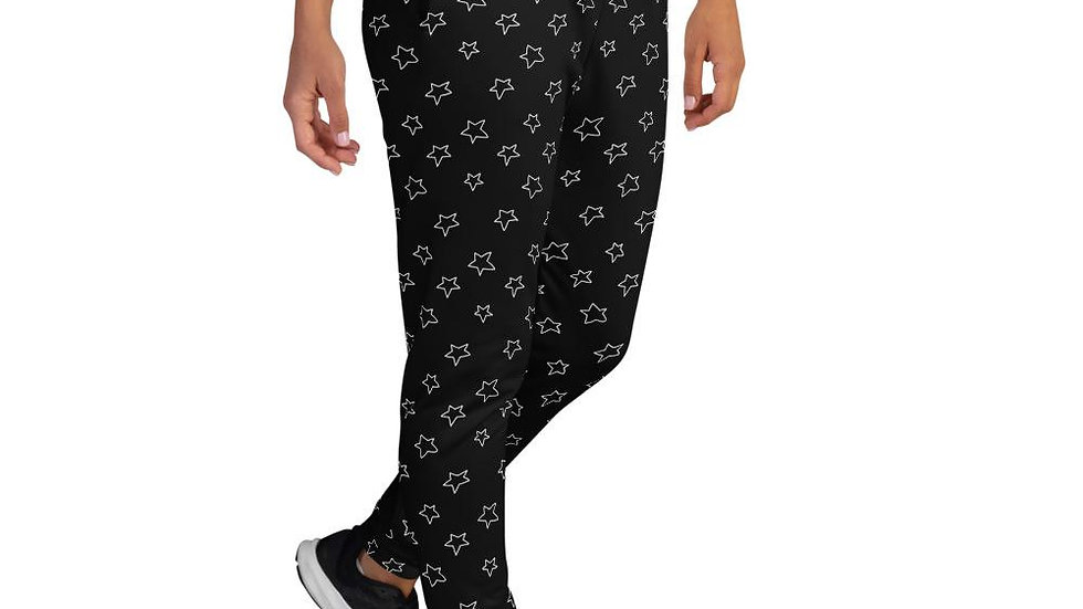 Women's Black Joggers With White Stars