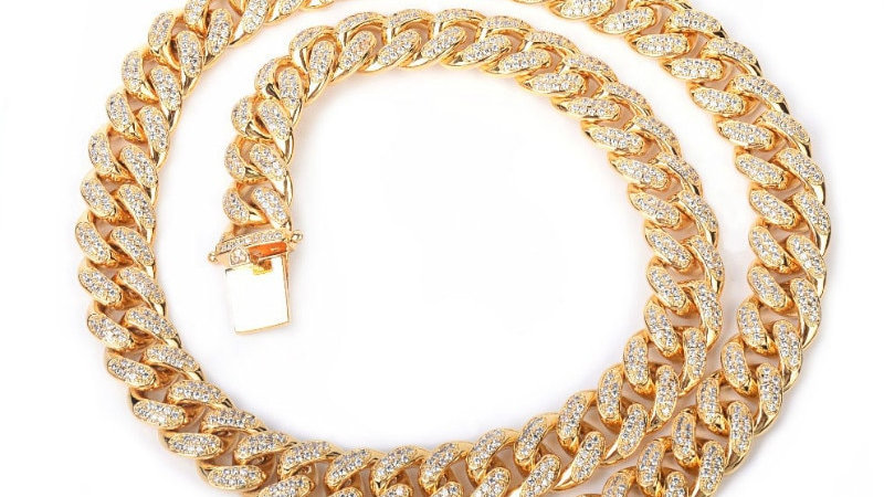 12mm Iced Zircon Cuban Necklace Chain Hip hop Jewelry Gold Color
