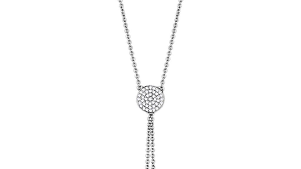 3W429 Rhodium Brass Necklace with AAA Grade CZ in