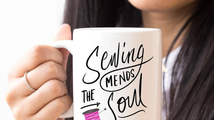 Sewing Coffee Mug, Sewing Mends The Soul, Quilting