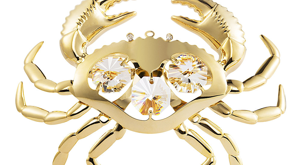 24K gold plated Crab with Swarovski crystal