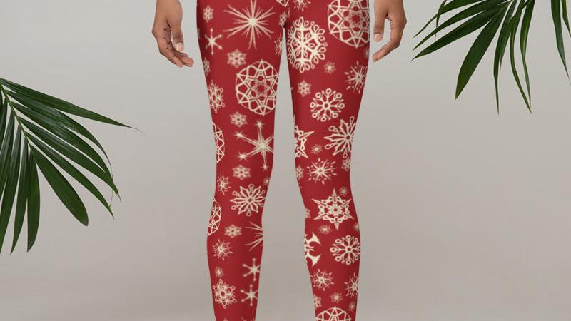 Mid Waist Red Snowflake Leggings